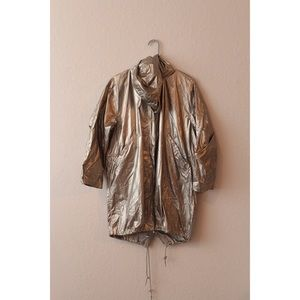 Zara Women Metallic Hooded Raincoat